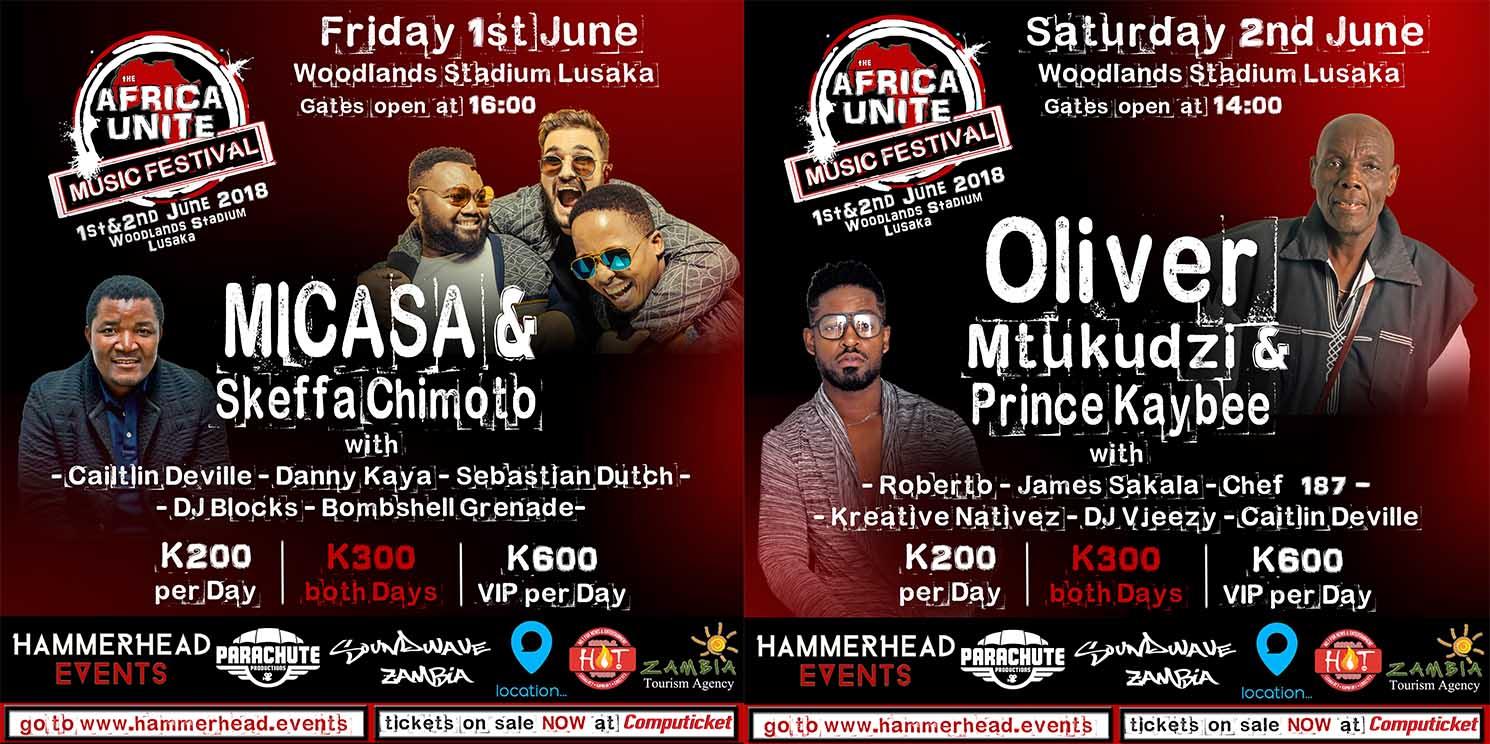 Oliver Mtukudzi, Micasa, Skeffa Chimoto, Prince Kaybee To Rock Africa Unite Music Festival
