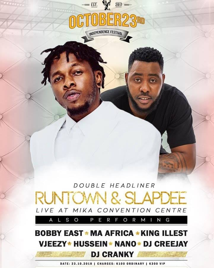 Runtown & Slapdee To Headline Zambia's Independence Festival On 23rd Oct